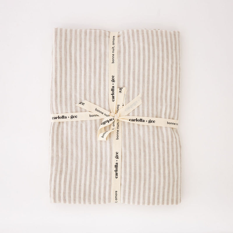 Mini Flat Sheet in Natural Stripes