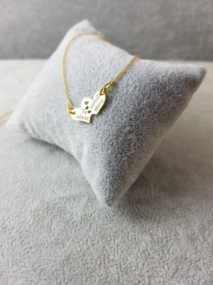Necklace Heart Pendant ,925 Silver ,Gold Plated 24K