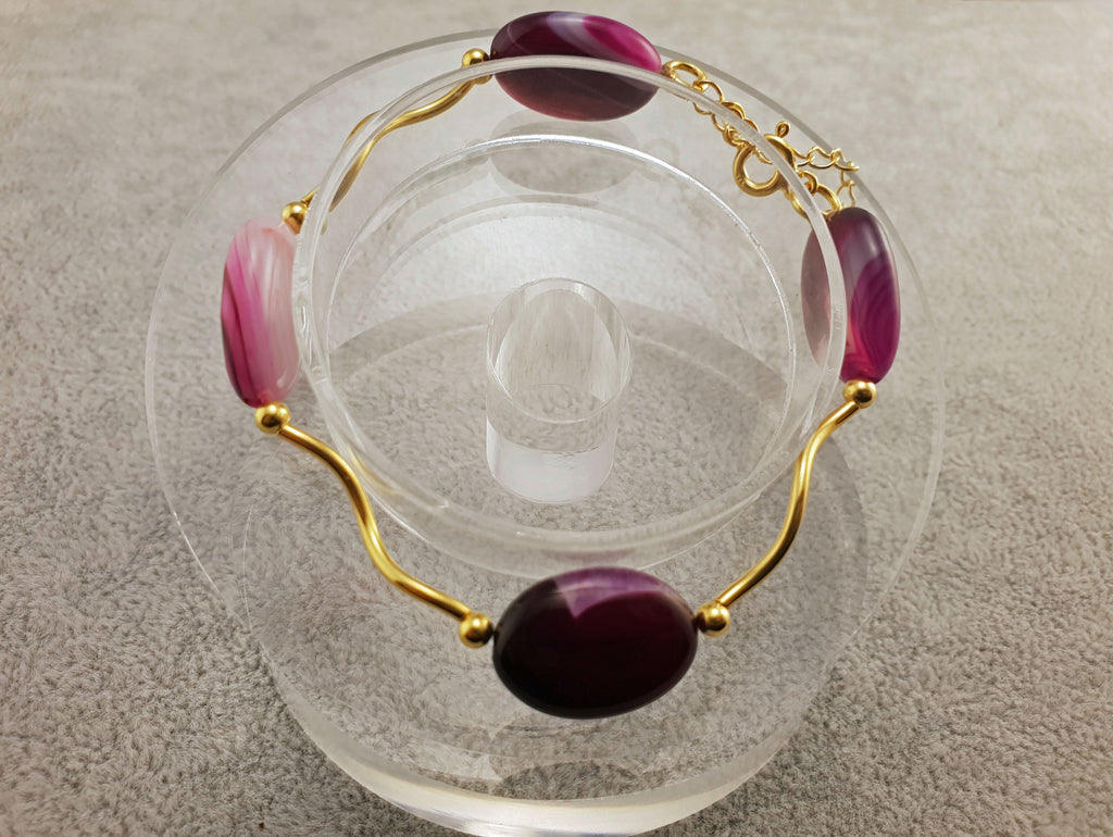 Agate Bracelet - Oval Beads - By Janine Jewellery