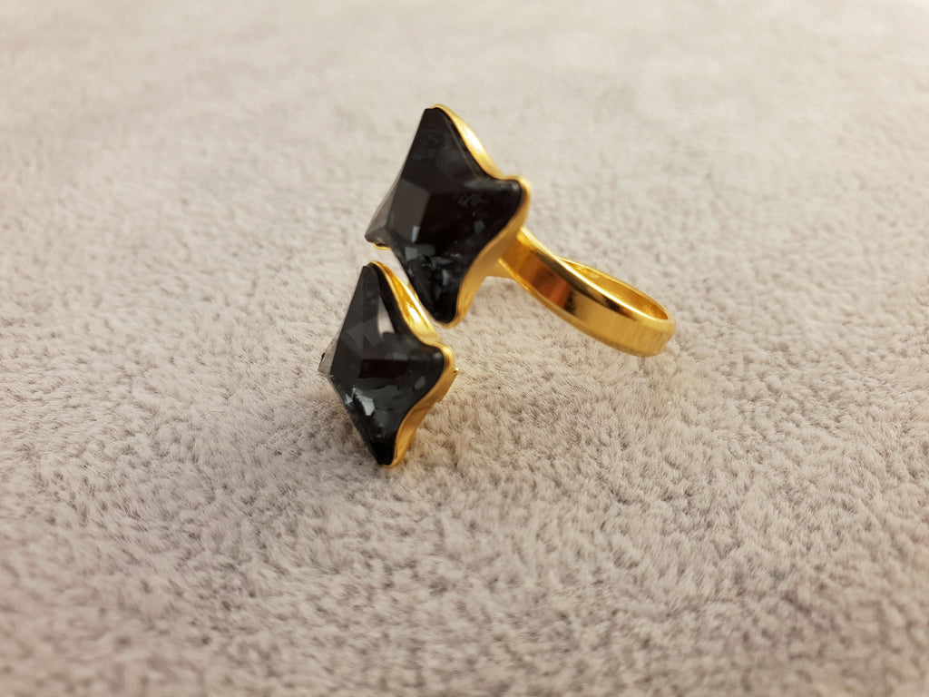 Swarovski Ring - Graphite II - By Janine Jewellery