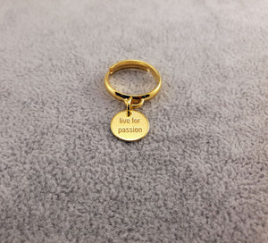 GOLD PLATED 24K RING - LIVE FOR PASSION - By Janine Jewellery