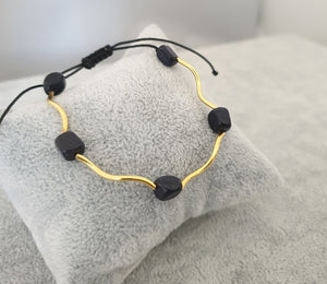 Agate Dyed Beads,925 Silver tube Gold Plated 24K - By Janine Jewellery