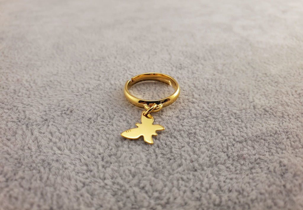 GOLD PLATED 24K RING - BUTTERFLY - 925 Silver Collection - By Janine Jewellery