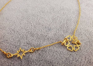 GOLD PLATED 24K - SIX HEARTS & STAR - By Janine Jewellery