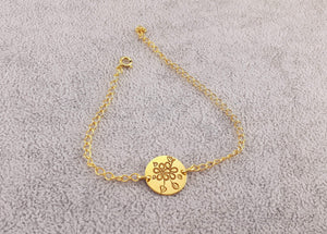 GOLD PLATED 24K BRACELET - FLOWER COIN - By Janine Jewellery