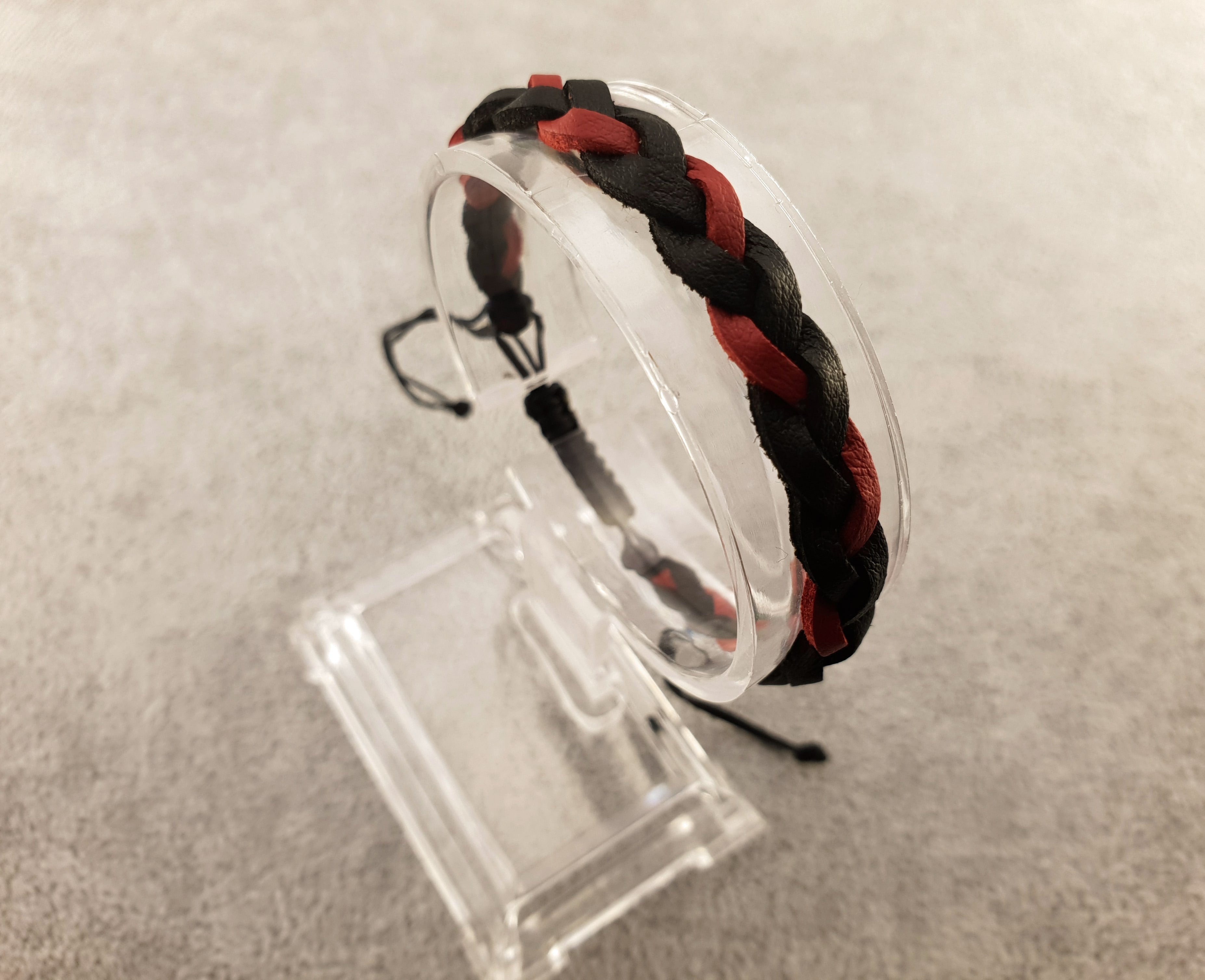 Woven Leather | BLACK AND RED - By Janine Jewellery