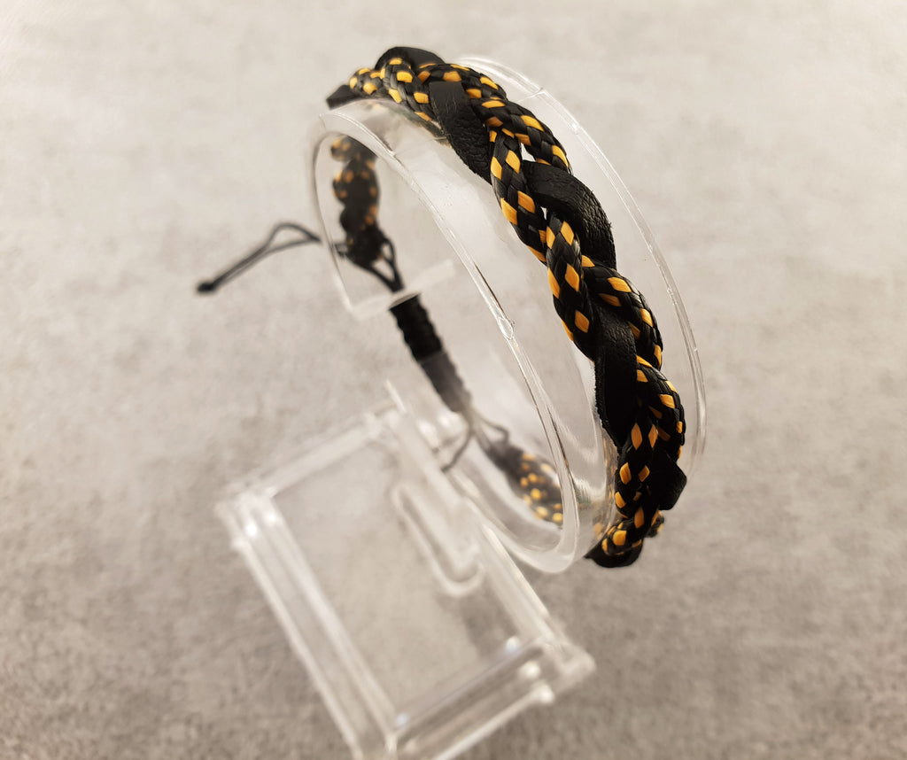 Woven Leather | BLACK AND YELLOW - By Janine Jewellery