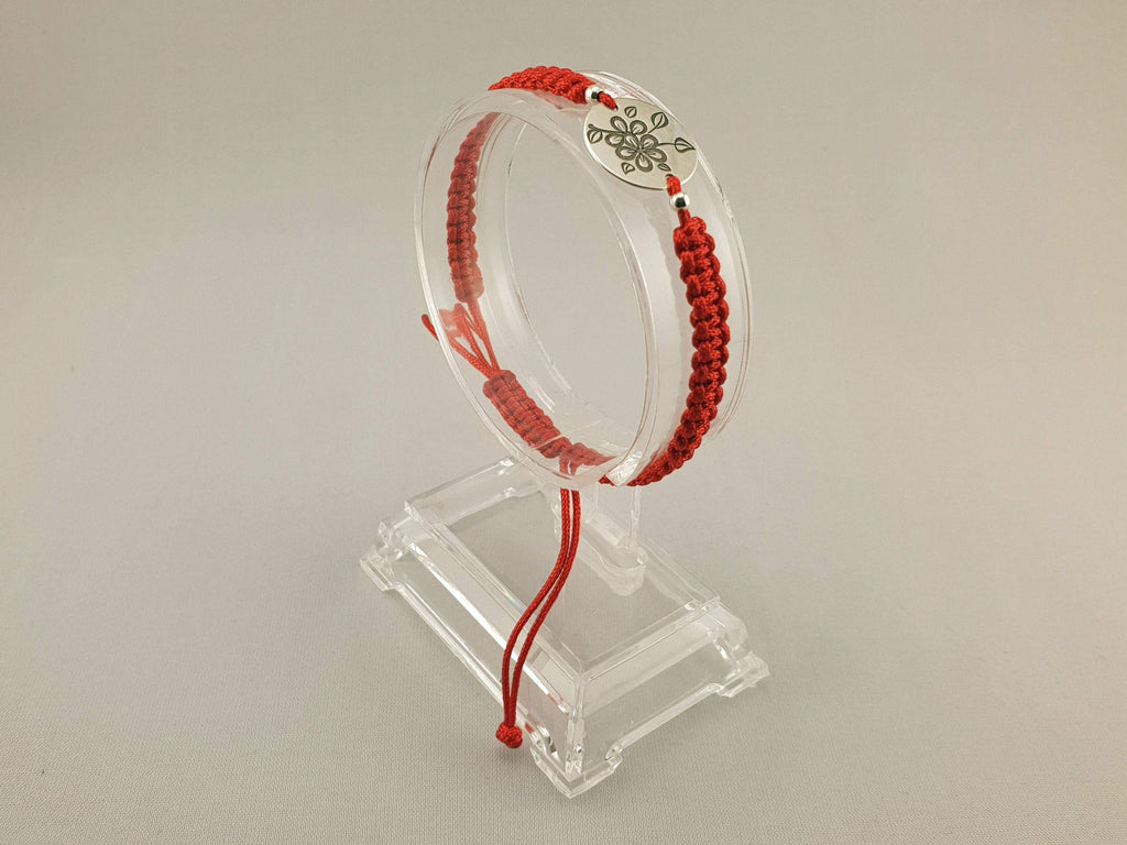 Woven Bracelet - 925 SILVER FLOWER COIN | RED - By Janine Jewellery