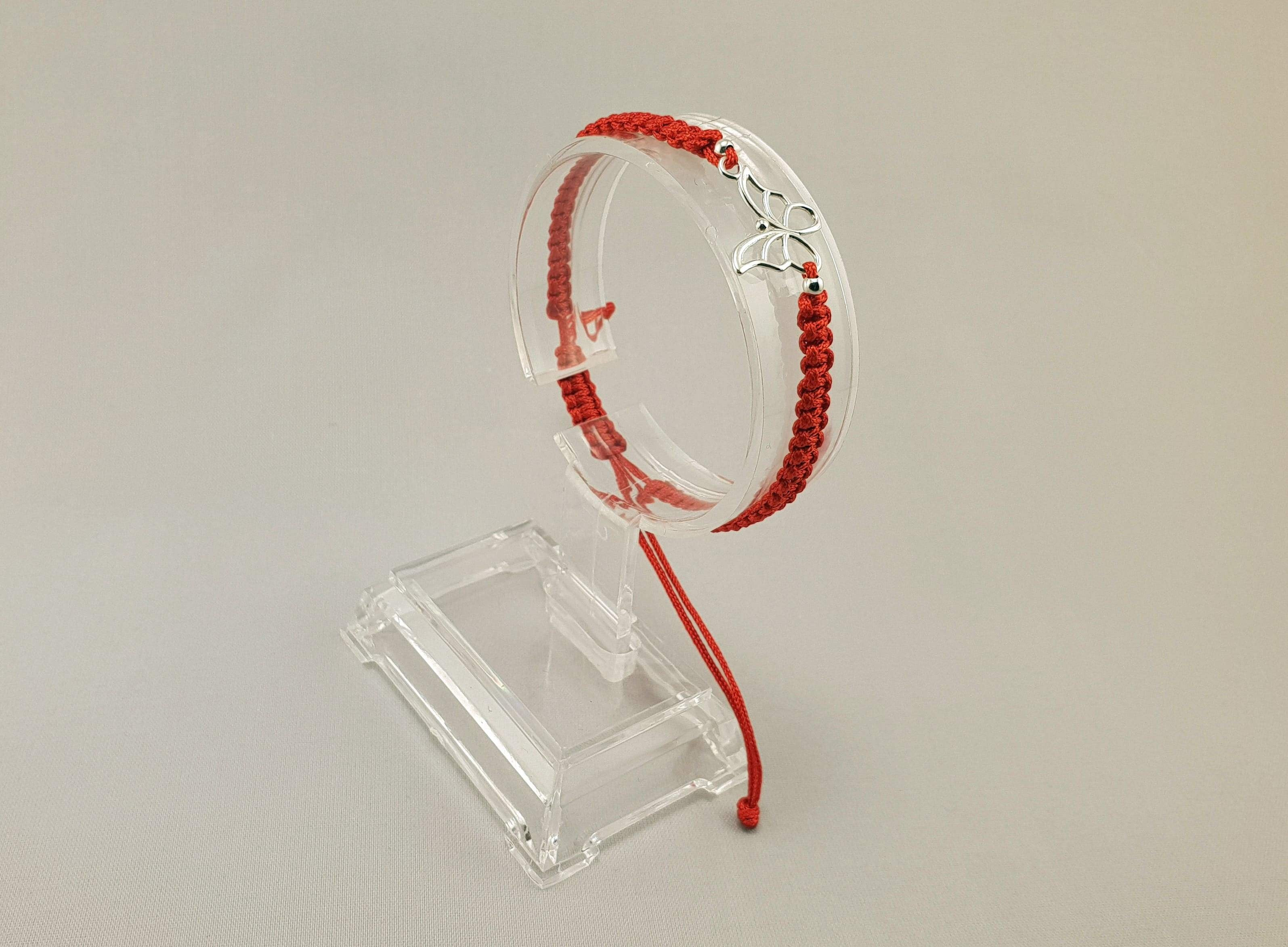 Woven Bracelet - 925 SILVER BUTTERFLY | RED - By Janine Jewellery