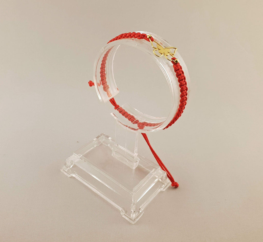 Woven Bracelet - GOLD PLATED 24K BUTTERFLY | RED - By Janine Jewellery