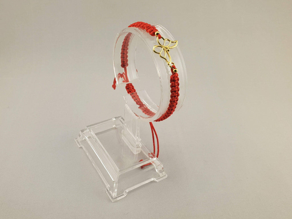 Woven Bracelet - GOLD PLATED 24K BUTTERFLY 2 | RED - By Janine Jewellery