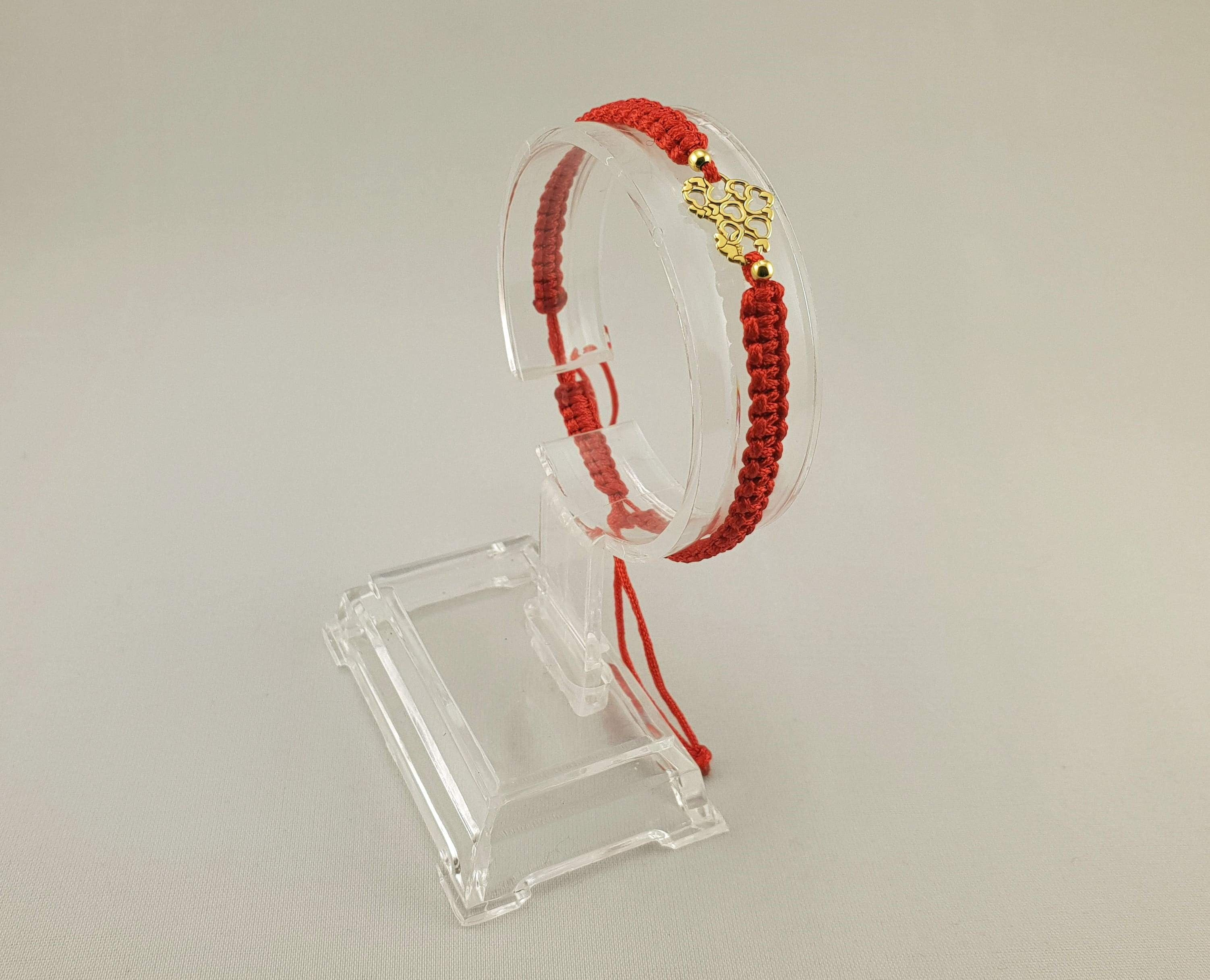 Woven Bracelet - LITTLE HEARTS | RED - By Janine Jewellery