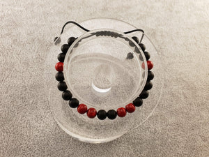 Agate beads - Matte Black and Red - By Janine Jewellery