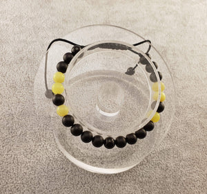 Agate & Jade Beads - Black and Yellow - Beaded bracelets - By Janine Jewellery