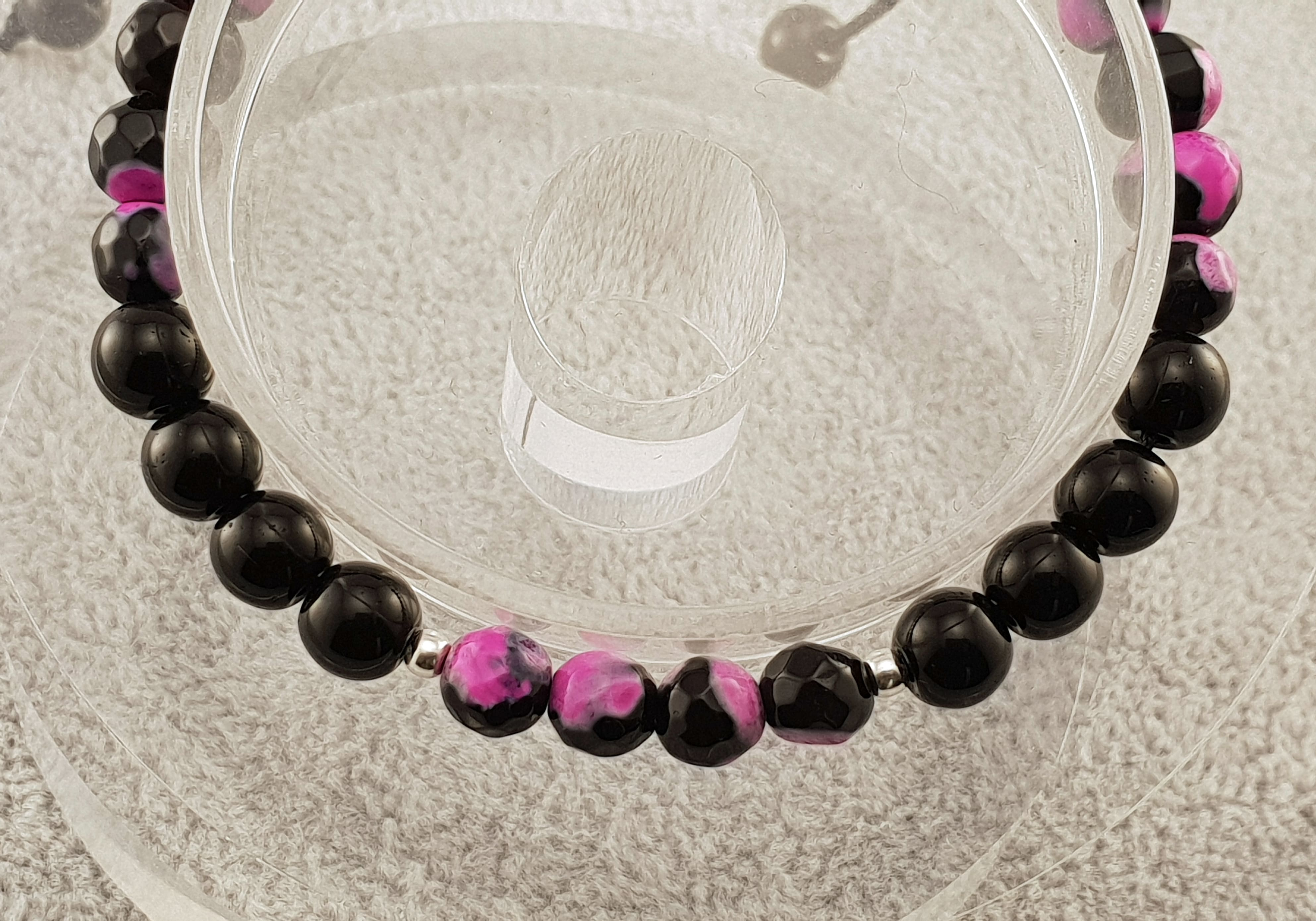 Agate beads - Black and Matte Violet - By Janine Jewellery