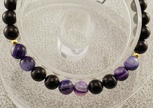 Agate beads - Black and Violet - By Janine Jewellery