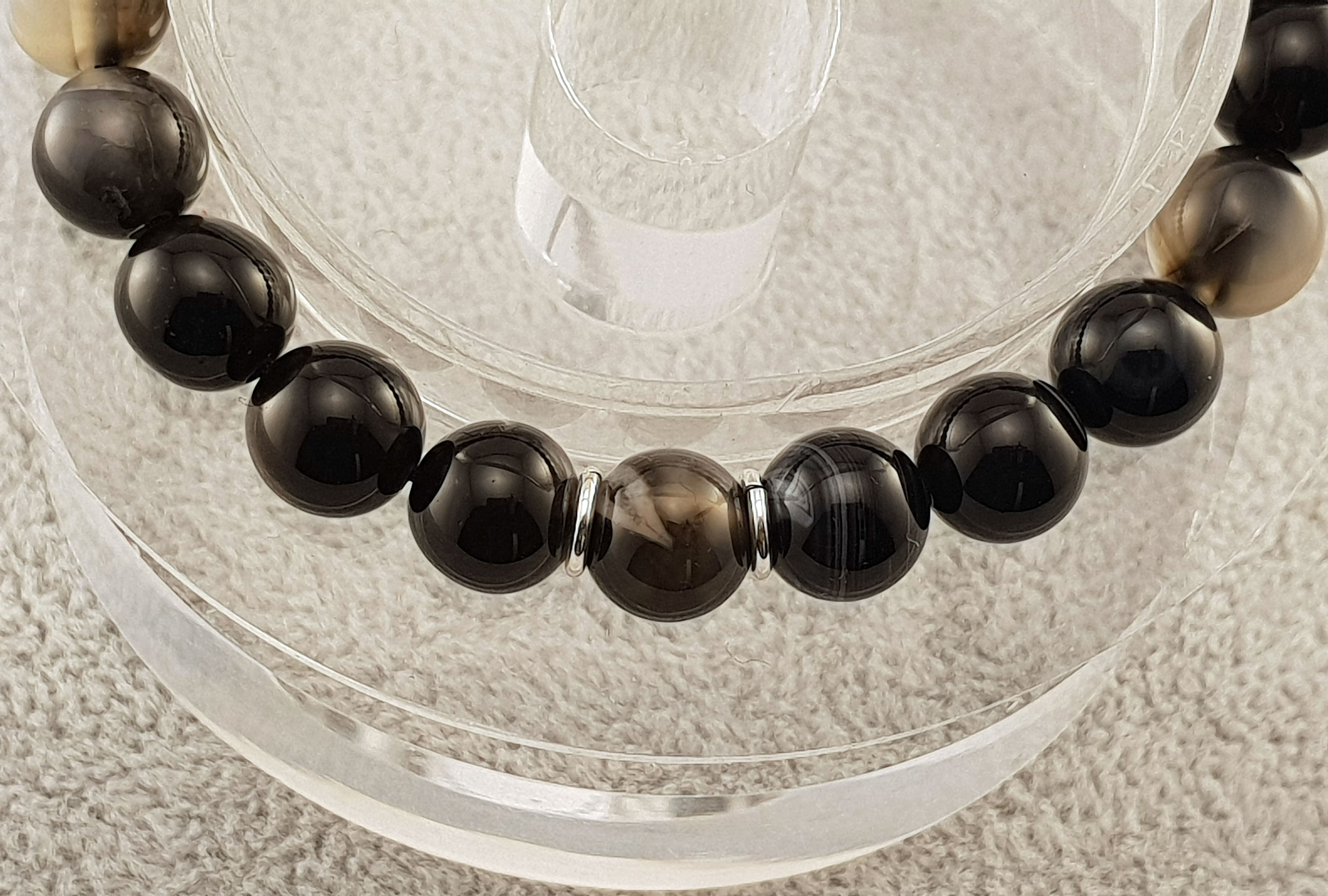 Agate beads - Dyed Black - By Janine Jewellery