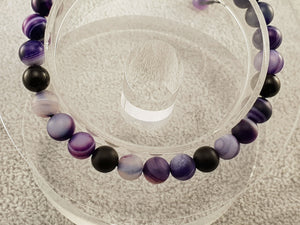 Agate beads - Black and Indigo 2 - By Janine Jewellery