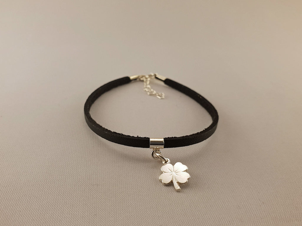 Leather Bracelet - SILVER CLOVER - By Janine Jewellery