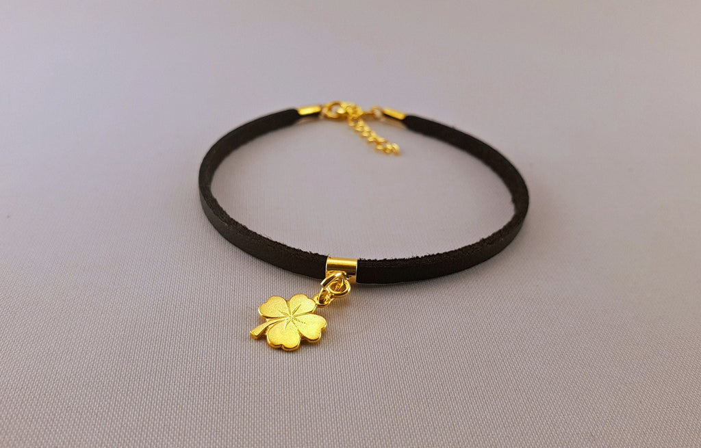 Leather Bracelet - GOLD PLATED 24K CLOVER - By Janine Jewellery