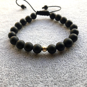 Agate Black , Matte -Gold 14k