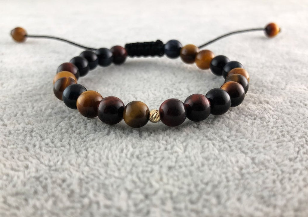 Tiger eye beads - Gold 14K