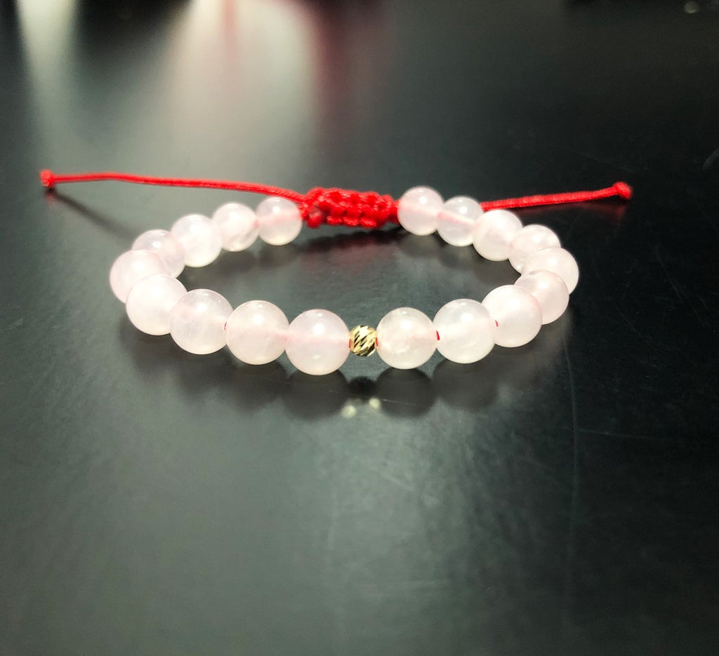 Little girl bracelet Quartz rose - Bead Gold 14k