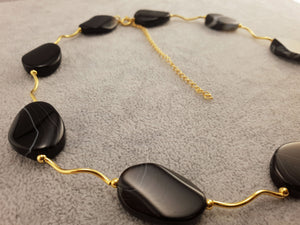 Agate Necklace - Flat Oval Beads - By Janine Jewellery