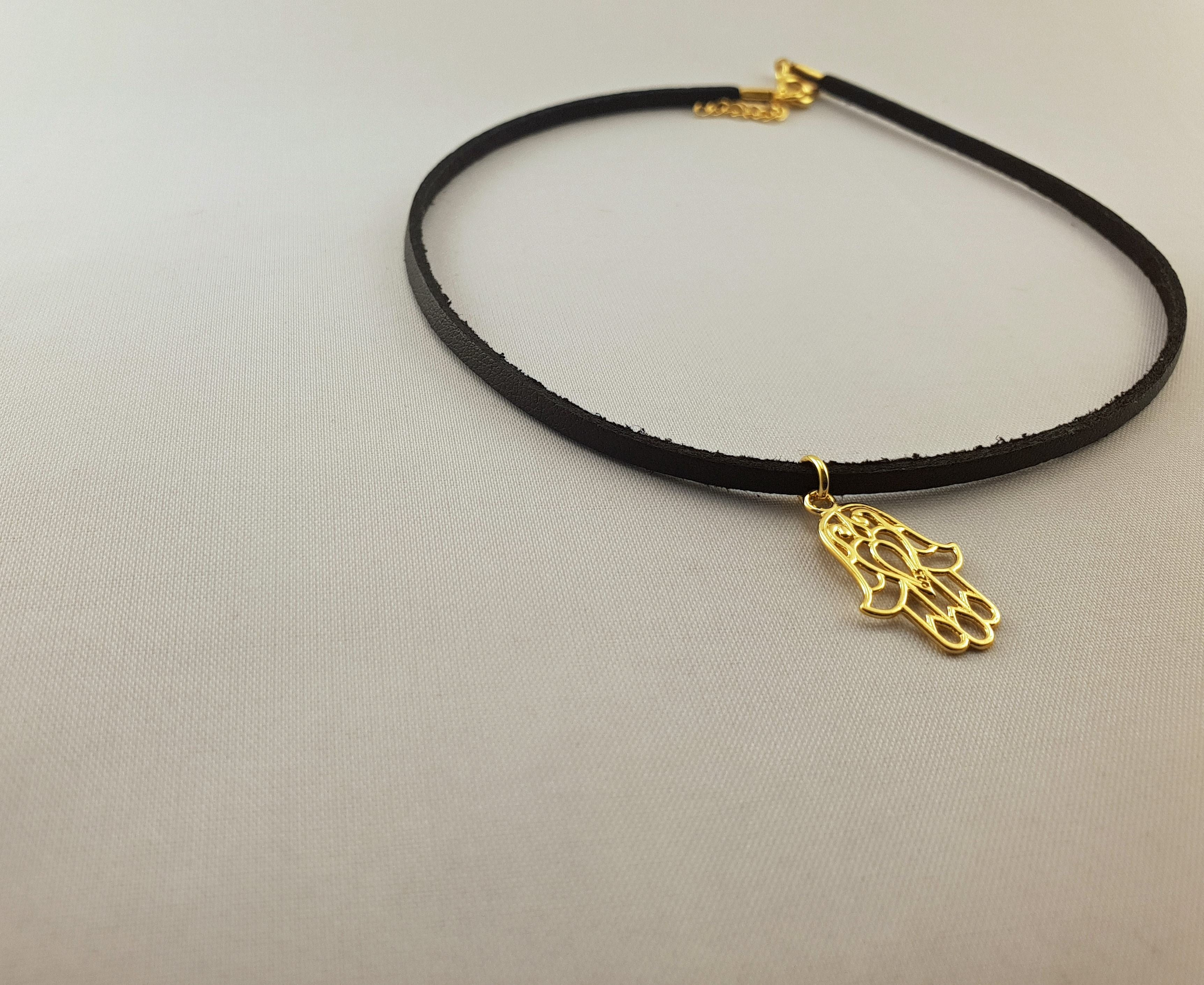 Leather Necklace - GOLD PLATED 24K HAMSA HAND - By Janine Jewellery