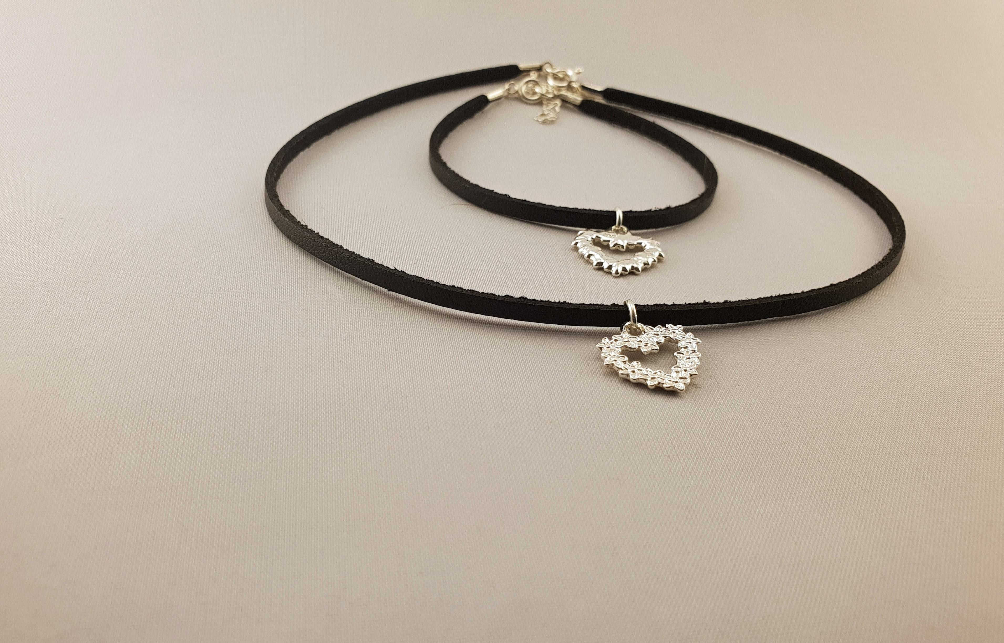 Leather Collection - BRACELET + NECKLACE | HEAVY SILVER HEART - By Janine Jewellery