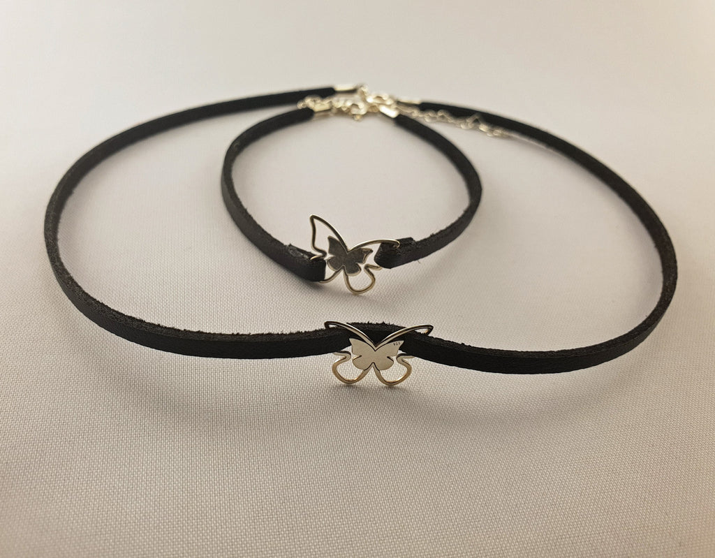 Leather Collection - BRACELET + NECKLACE | SILVER BUTTERFLY - By Janine Jewellery