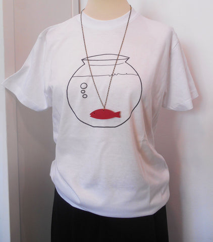 T-shirt donna collana fish rosso