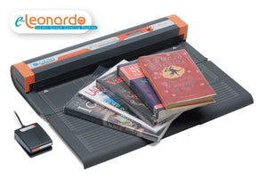 An image of Colibri Systems North America's clear book covering machine with some books on top of it