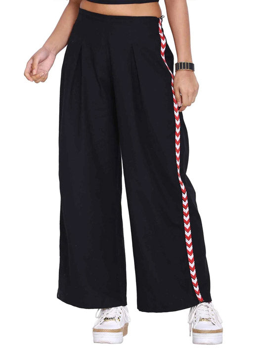 Black Pleated Flared Pants