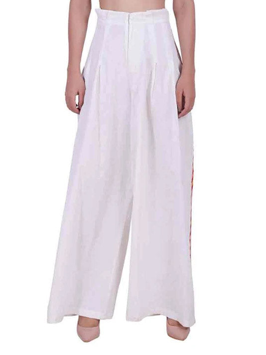 Contrast Side Embroidered Stripe Trouser