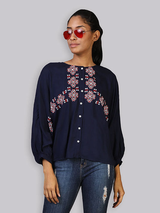 Navy Volume Sleeve Embroidered Top