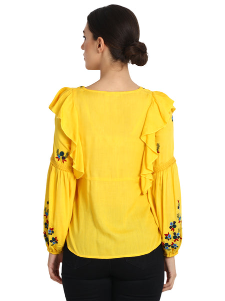 Rena Love Sunflower Embroidered Blouse