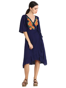 Rena Love Embroidered Wrap Dress :
