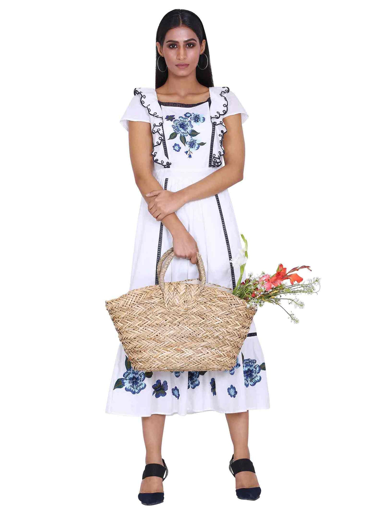 Rena Love White Lily Embroidered Dress