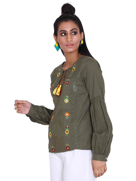 Rena Love Olive Green Embroidered Blouse