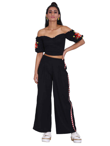 Rena Love Black Pleated Flared Pants