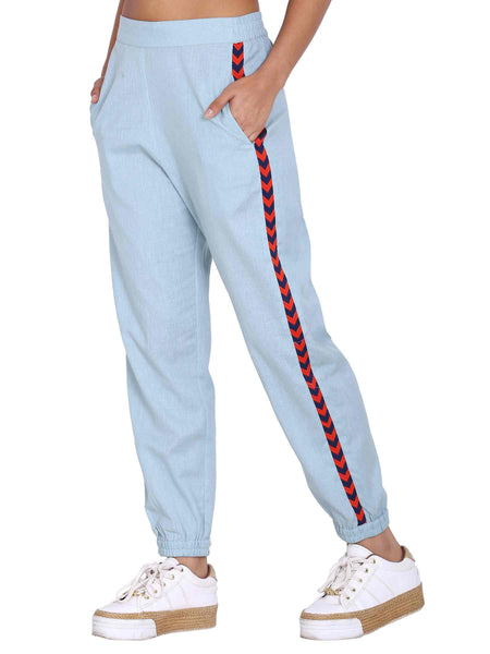 Rena Love Powder Blue Gross Grain Joggers