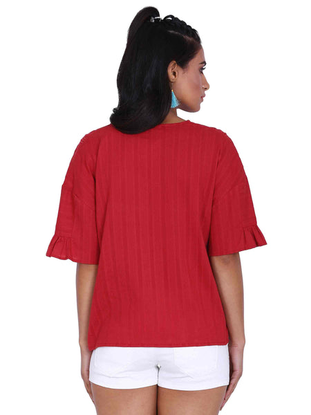Rena Love Red Flared Top