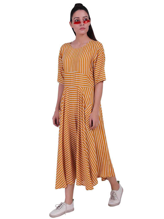 All over Mixed Stripes Dress