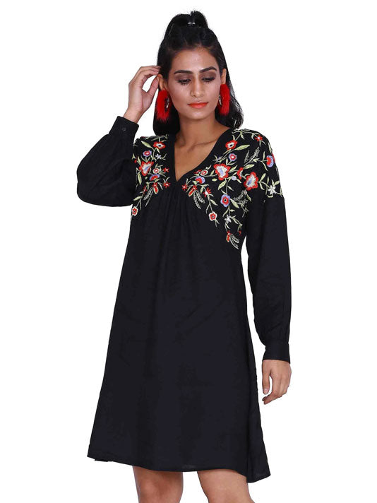Black V-Neck Flared Embroidered Dress