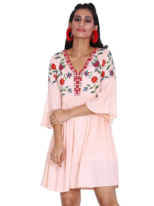 Blush Flared Sleeve Embroidered Dress