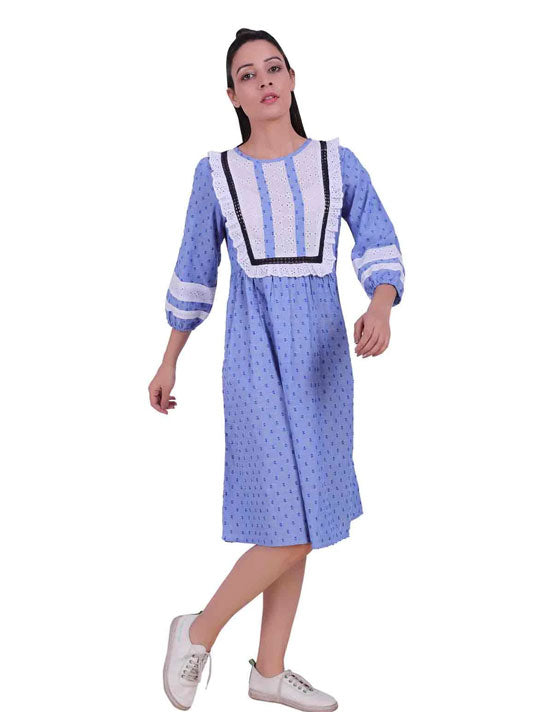 Dobby Broderie Yoke Shift Dress