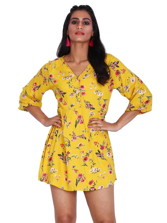 Eleanor Yellow Printed Dress