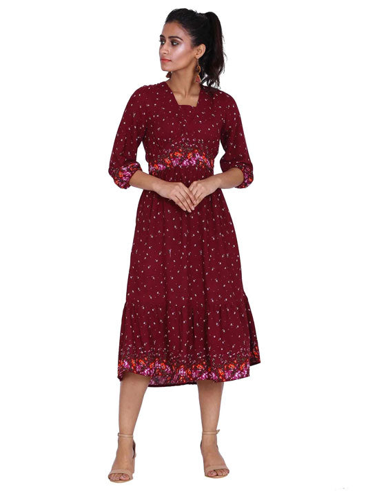 Floral Maroon Print Dress