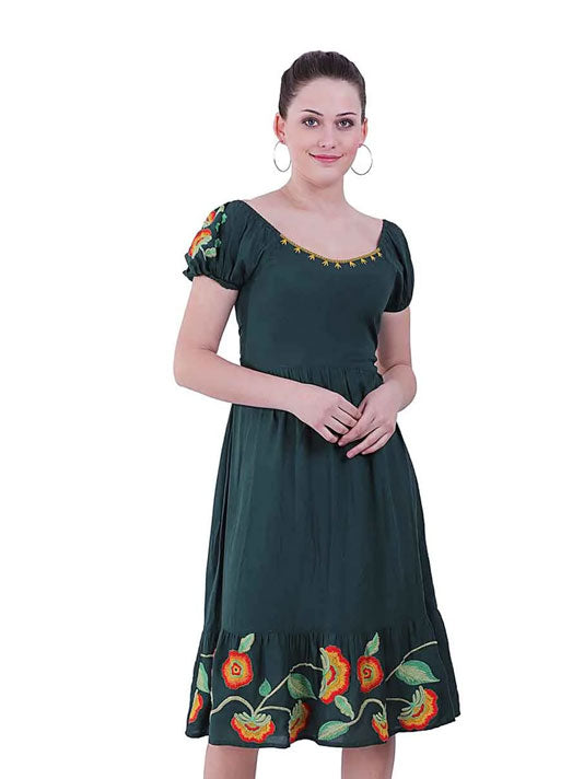 Green Aisha Embroidered Dress